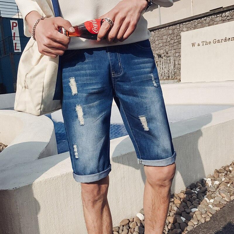 Summer Men With Holes Denim Shorts Teenager Korean-style Shorts Men's Trend Cowboy Fifth Pants