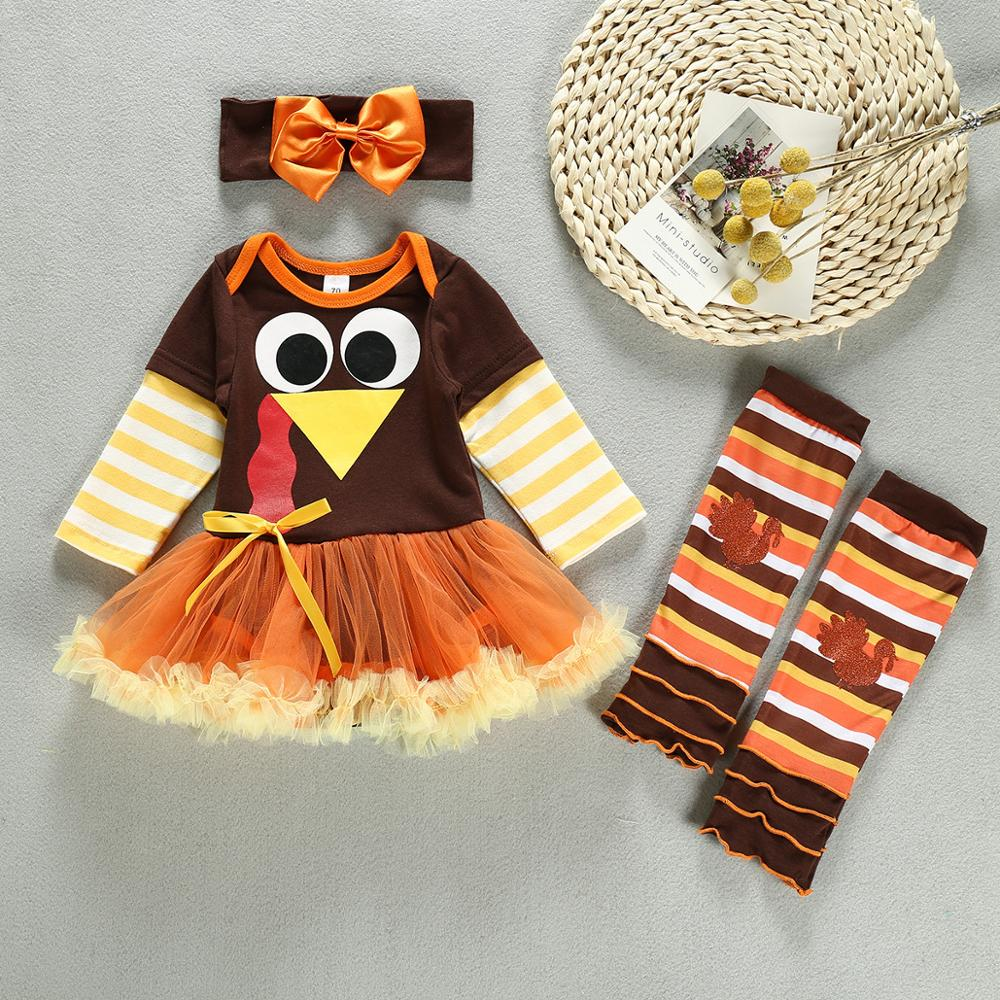 Baby Girls Thanksgiving Birthday Party Theme Costume Turkey Dress Suit Christening Outfits Princess Costumes Ball Gown 1