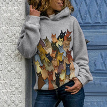 40#Толстовка Женская Autumn Hoodies New Cat Printed Oversize Hoodies Women's Loose Hooded Sweatshirt Print Sudaderas Mujer