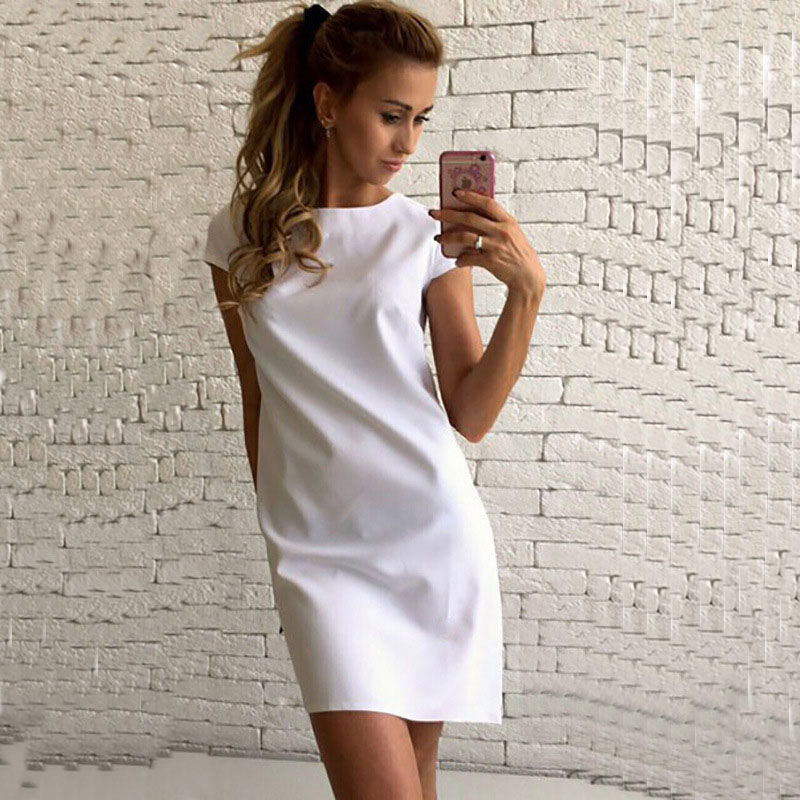 Casual Women Dress Short Sleeve O-neck Loose Mini Short Dresses Summer Elegant Solid Work Office Dress Clothes White GV561