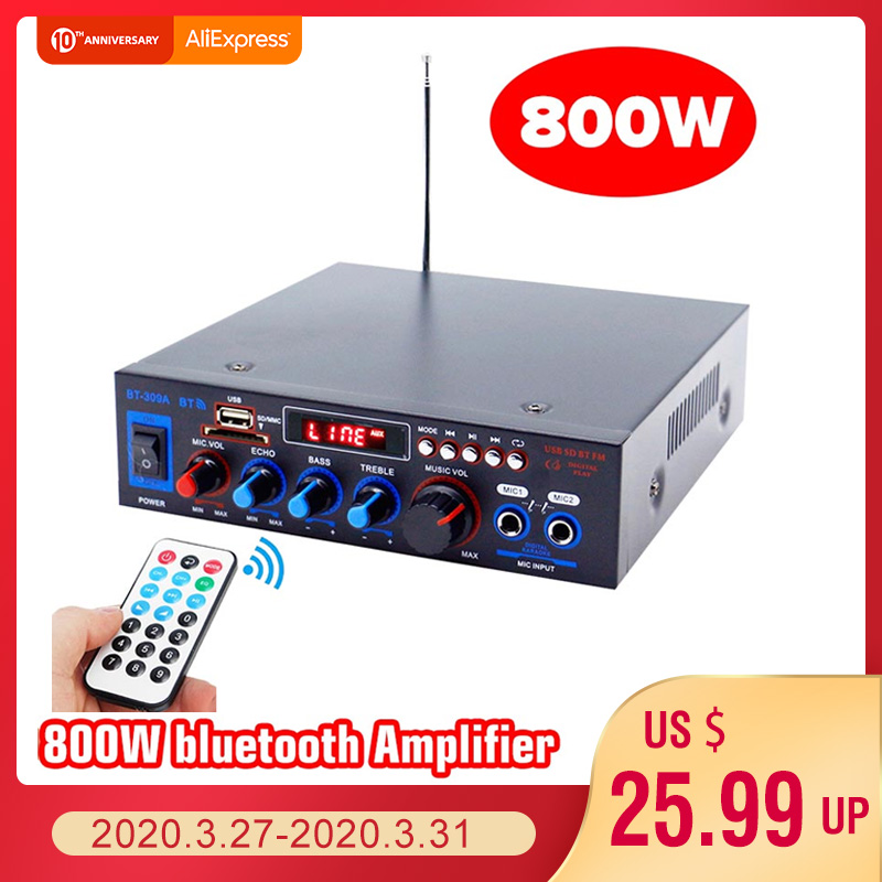 HIFI 2CH 800W Audio Power Amplifier 12/220V Home Theater Amplifiers Audio With Remote Control Support FM USB SD Card Bluetooth