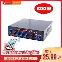HIFI 2CH 800W Audio Power Amplifier 12/220V Home Theater Amplifiers Audio with Remote Control Support FM USB SD Card bluetooth Amplifier     -