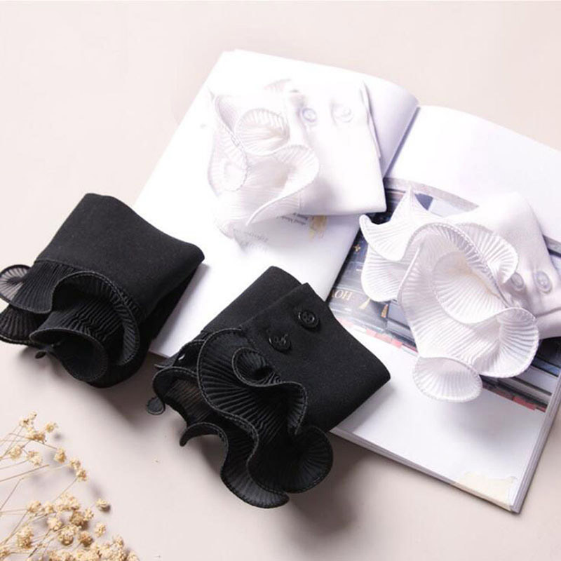 Decorated Cuff Fake Sleeves Autumn Winter Wild Sweater Decorative Sleeves Flounces Wrist Sleeves Lace Pleated Wrist