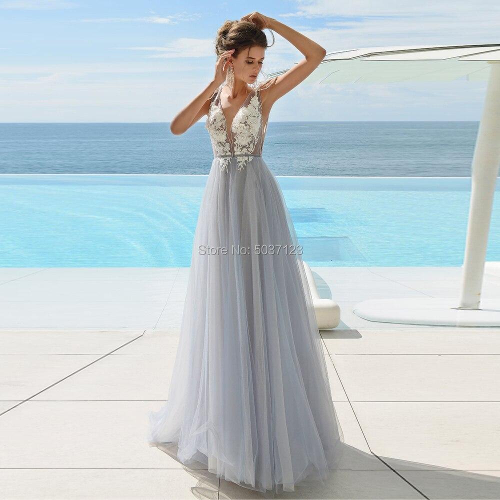 Tulle Deep V Neck Wedding Dresses A Line Lace Appliques Beading Sleeveless Bridal Gowns Vestido De Noiva Sweep Train Open Back