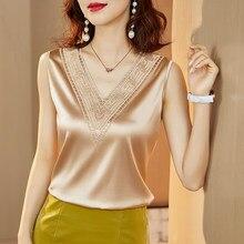 Koreanische Seide Frauen Blusen Tops Frau Satin Bluse Shirts Frauen Stickerei Spitze Blusen Top Frau V-ausschnitt Elastische Satin Bluse Top
