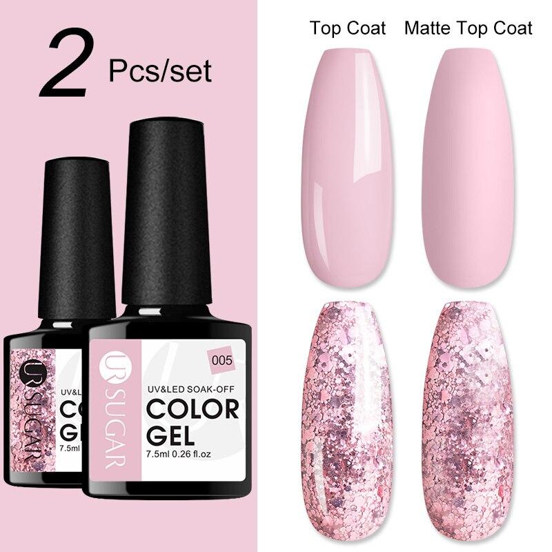 UR SUGAR 2/4/6pcs Glitter Plum UV Gel Nails Polish Long Lasting Shimmer Color Soak Off Gel smalto Base Top Coat necessario