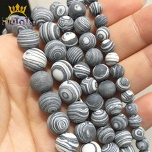 Matte Black White Malachite Mineral Beads 4 6 8 10 12mm Natural Stone Beads For DIY Jewelry Making Bracelet Accessories 15''