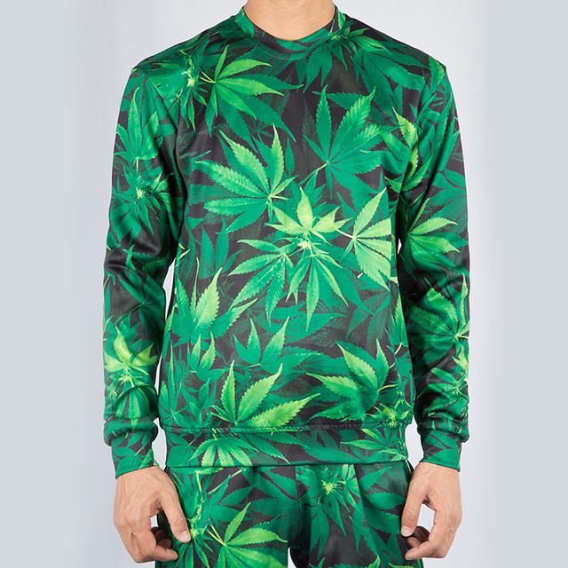 Weed Leaf 3D Crewneck Hoodie Pullovers Tracksuit