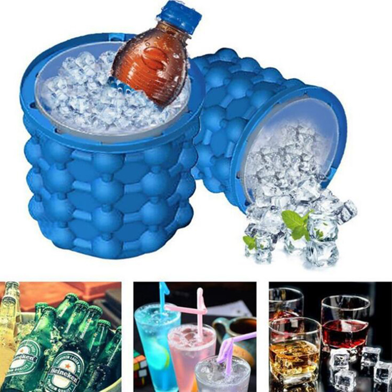 Space Saving Silicone Ice Bucket Ice Cube Maker Mold Tray Tool Kitchen Summer h