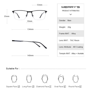 Image 4 - MERRYS تصميم الرجال سبائك التيتانيوم النظارات الإطار نصف البصرية قصر النظر وصفة طبية النظارات البصرية s2 176