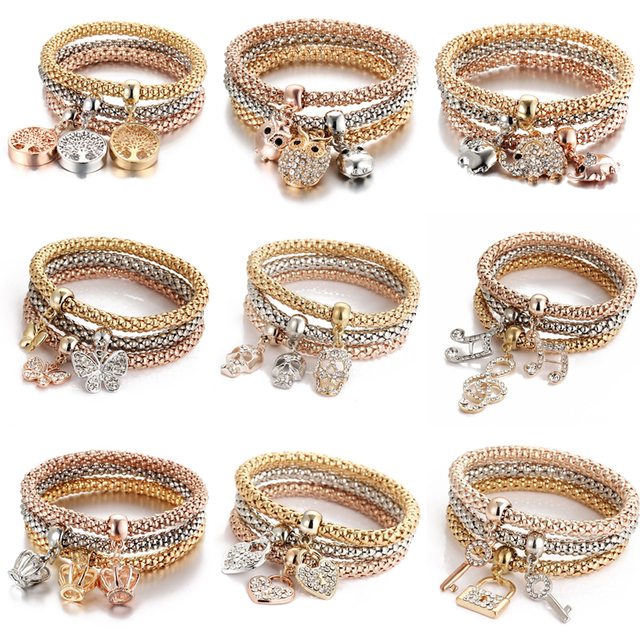 3colors/Lot Elastic Bracelets & Bangle For Women Crystal Tree of Life Owl Key lock Music Note Owl Butterfly Heart Charm Jewelry