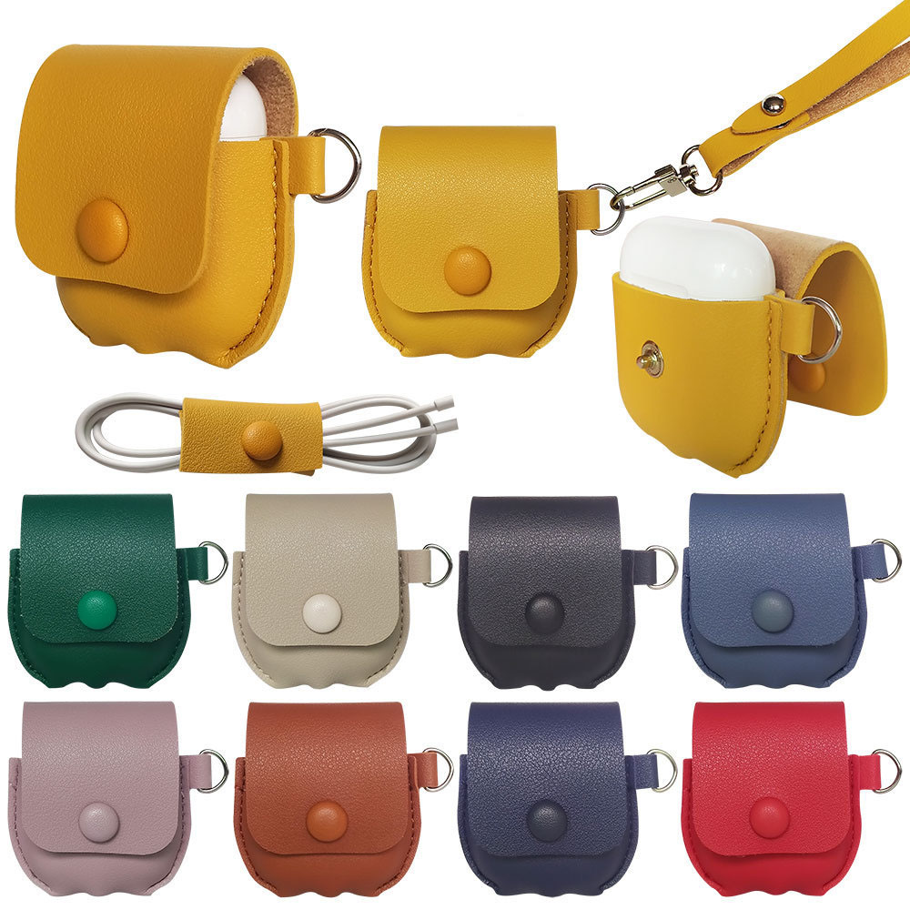 Case For Apple Airpods PU Leather Headphone Cover With Buttons Case For Airpods Case Headphones Case Box Earphone Accessories