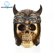 Strongwell European Resin Skull Figurines Desktop Retro Decoration White Crafts Personalized Halloween Skulls