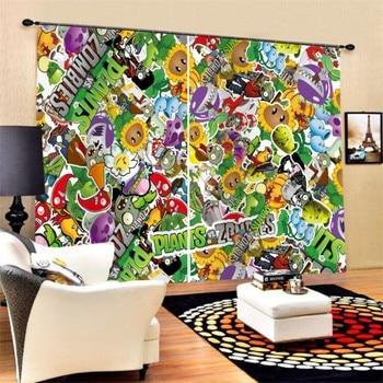 Niños plantas de dibujos animados VS. Cortinas de ventana personalizadas Zombies, cortina opaca de 2 paneles para sala de estar, dormitorio, Dropshipping