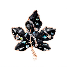 Korean Version Of High-grade Maple Leaf Brooch Fashion Retro Alloy Diamond Drop Oil Shell Corsage Factory Outlet