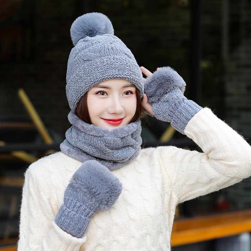 Winter Hat And Scarf Glove Set For Women Girl 's Knitted Hat Wool Ring Scarf Cotton Female Beaine Hat And Scarves Gloves Warm