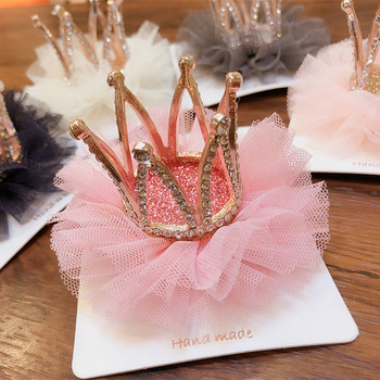 Korean Children's Hairpin Headdress Girl Princess Mesh Head Flower Stereo Crown Rhinestones Hair Clip Birthday Gifts Accessories - discount item  30% OFF Headwear