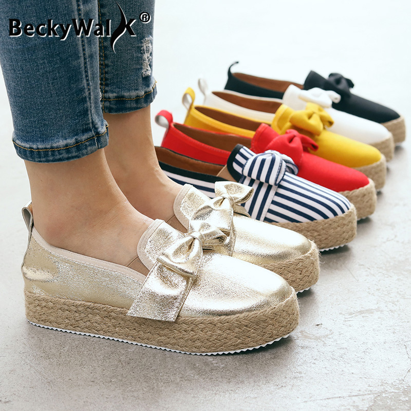 Women Flats Shoes Women Platform Sneakers Slip On Bows Suede Ladies Loafers Woman Casual Shoes Big Size zapatillas mujer WSH3406