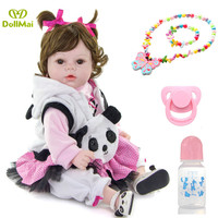 Real Baby Dolls Reborn Girl 20'' Lifelike Soft Silicone Babies Reborn Baby Doll Toys For Children bebe Gift reborn Panda clothes