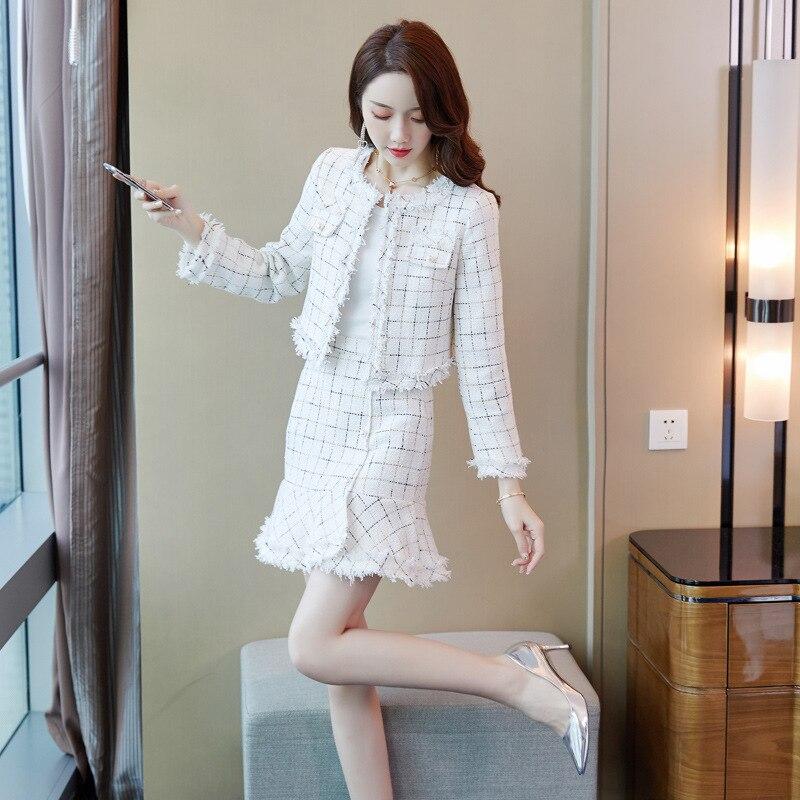 Autumn WOMEN'S Suit 2019 New Style Tweed A- Line Fishtail Skirt + Flash Graceful Coat