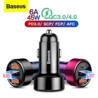 Baseus-cargador USB para coche, dispositivo de carga rápida 4,0 3,0, para iPhone 12, Xiaomi, Samsung, QC4.0, QC3.0, QC tipo C, PD