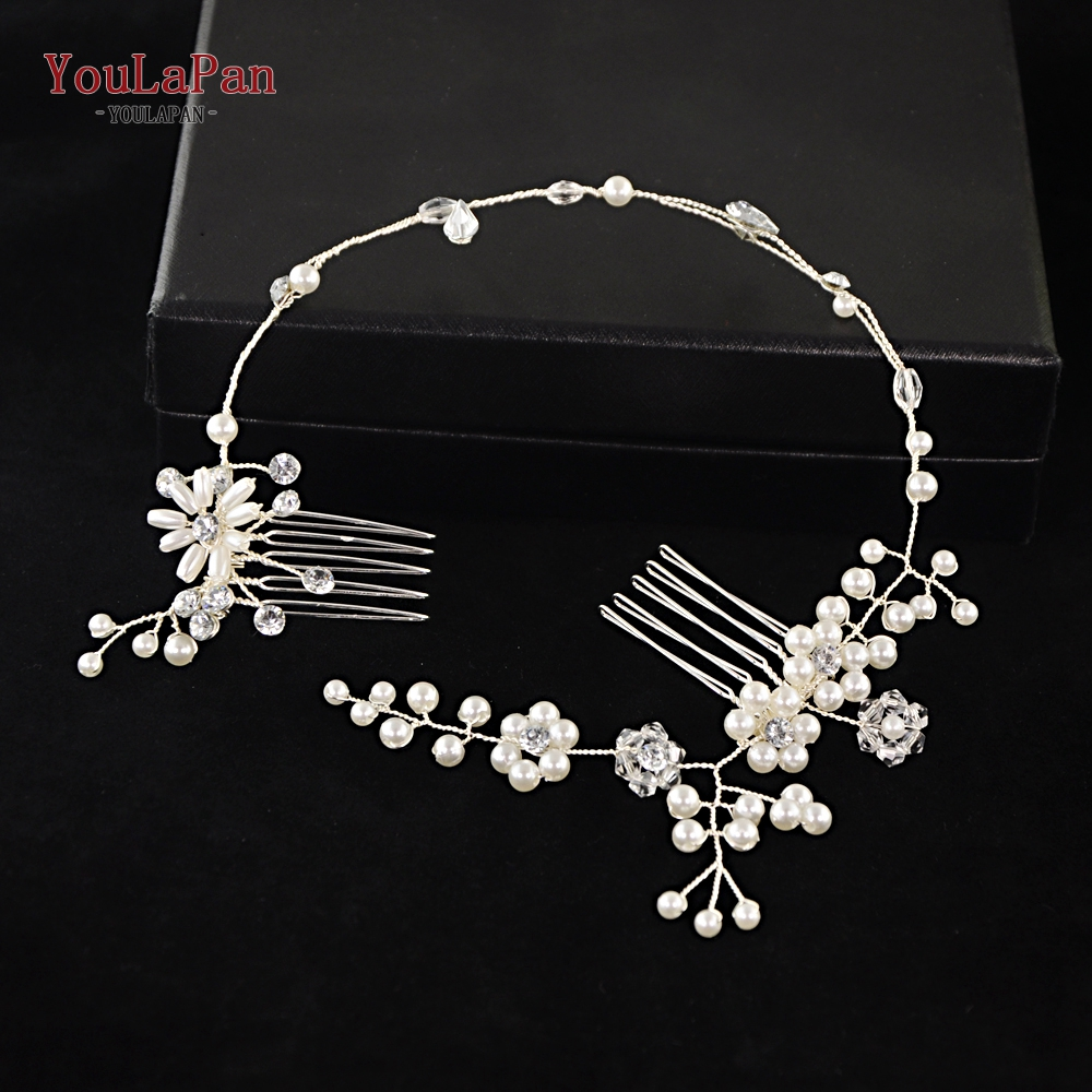 YouLaPan Bridal Tiara Bridal Combs Handmade Pearl Wedding Hair Accessories Wedding Hair Jewelry Headpieces Bridal Tiara HP16