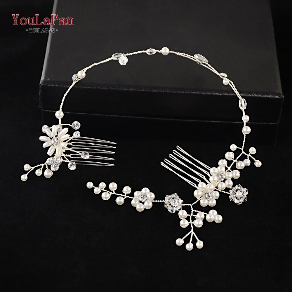 YouLaPan Bridal Tiara Bridal Combs Handmade Pearl Wedding Hair Accessories Wedding Hair Jewelry Headpieces Bridal Tiara HP16