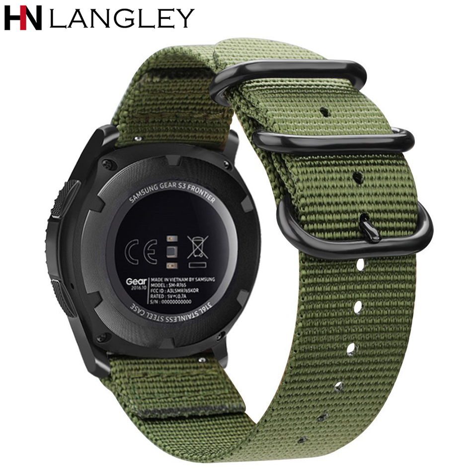 Military Style Woven Nylon Watch Band For Samsung Gear S3 Frontier Gear S2 Classic Band Soft Adjustable Strap Army Green 20/22mm