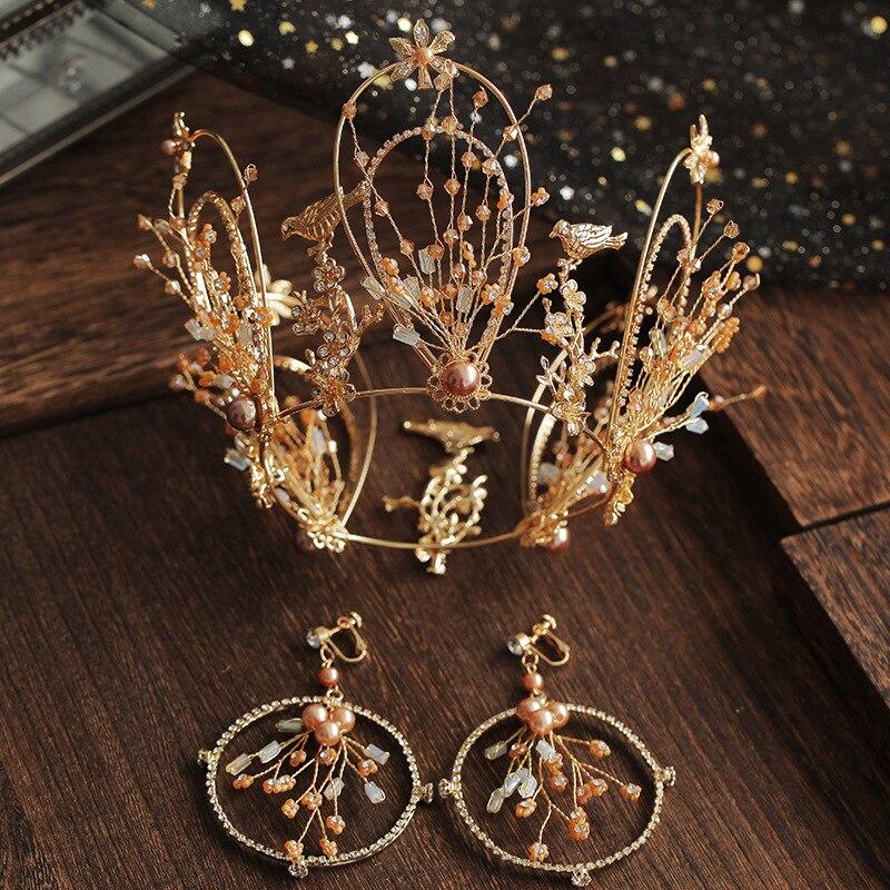 Nouveau cristal doré couronne Baroque diadème avec boucles d'oreilles mariée mariage bandeau tiare cheveux bijoux accessoires postiches