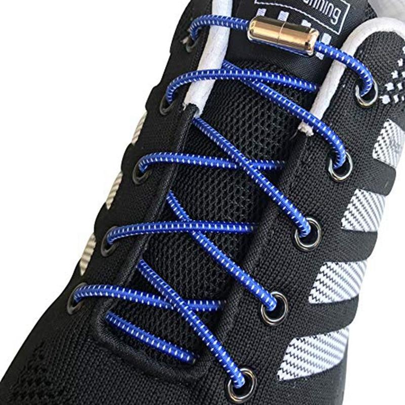 Elastic Shoelaces Reflective No Tie Shoe Laces Metal Tip Round Shoe Lace Child Adult Unisex Convenient Quick Lock Lazy Laces