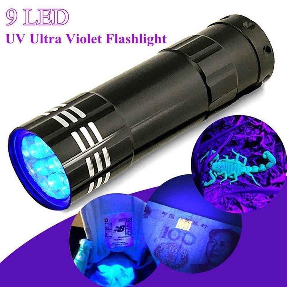 Uv ultra verificador de dinheiro violeta lanterna 9 led tocha com corda multifunções mini lâmpada luz de alumínio loja equipamentos essenciais