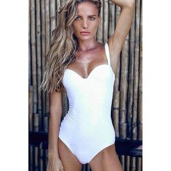 Weißer Sommer Frauen Badeanzug Momokini Push Up Badeanzüge 1