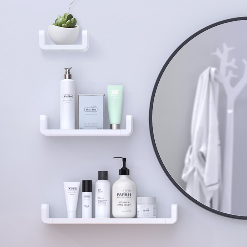 No Drill Self Adhesive Shelf Storage Rack Box Wall Organizer Bathroom Decoration