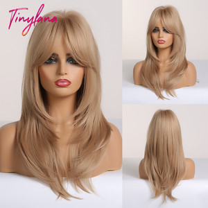 Image 1 - TINY LANA Ombre Brown Blonde Medium Length Straight Synthetic Wigs Layered Hairstyle  Wigs with Bangs for Women African Amer