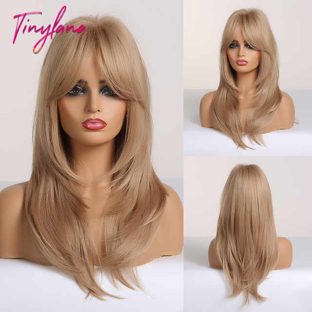 TINY LANA Ombre Brown Blonde Medium Length Straight Synthetic Wigs Layered Hairstyle  Wigs with Bangs for Women African Amer