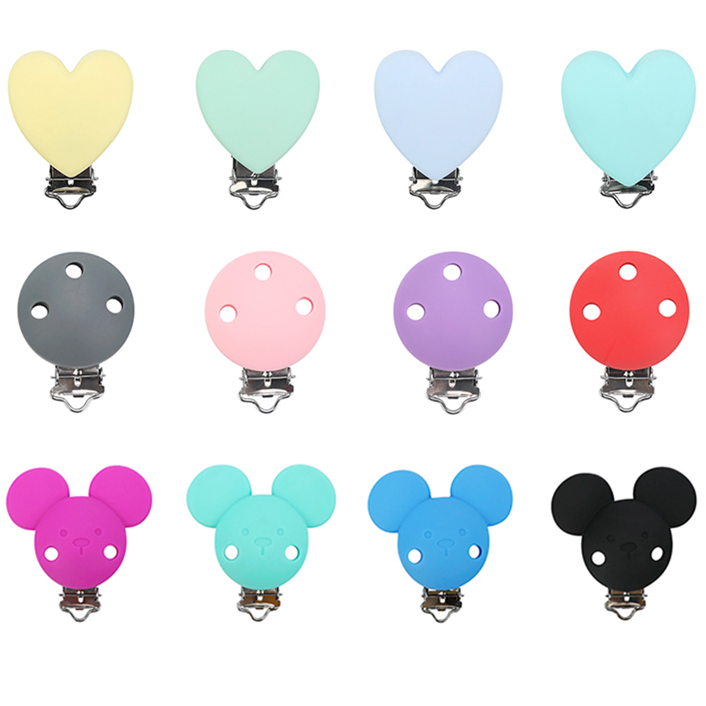 1pc Mickey Silicone Pacifier Clip DIY Baby Teething Teether Necklace Bead Tool Nurs Gift Round Heart Accessories Nipple Clasps