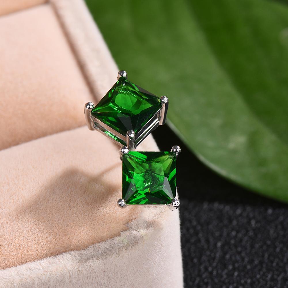 Simple Green Stone Square Stud Earrings For Women Men Princess Crystal Wedding Ear Studs Vintage Bone Earring Mom Jewelry