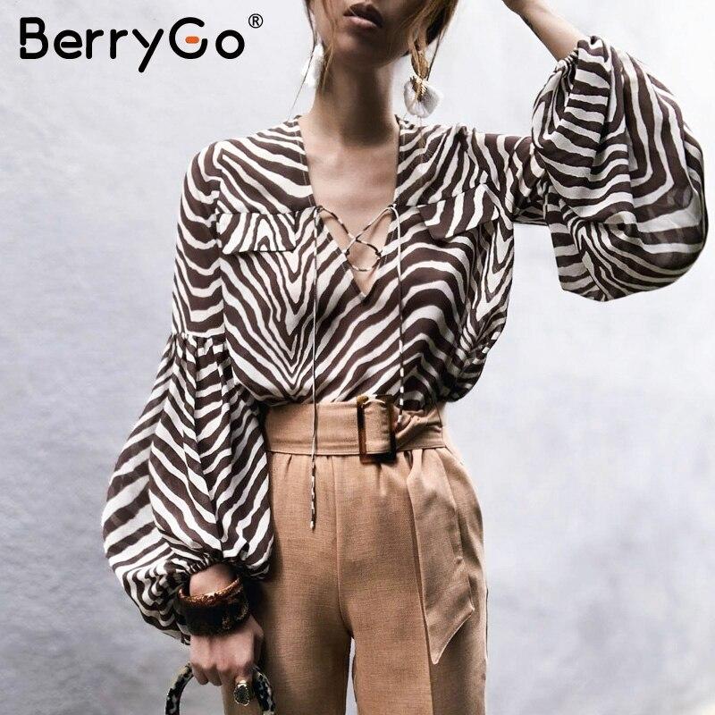 BerryGo Women Blouse Shirt Zebra Stripe Print Summer Blouse Bell Long Sleeve Female Top Shirt Elegant Lace Ladies Blouse Retro