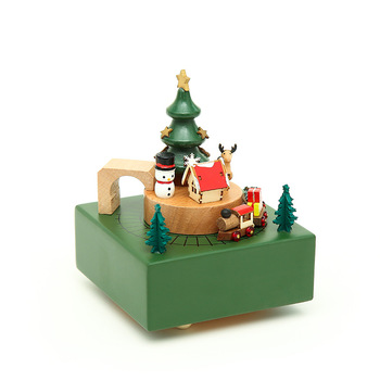 Wooden music box music box new wooden sky city creative gifts birthday gift merry-go-round home ornaments