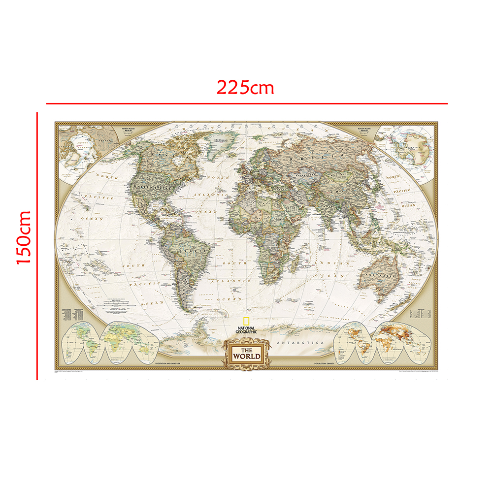 The World Spray Painting Map 150x225cm Non-woven Waterproof Map Without National Flag For Education