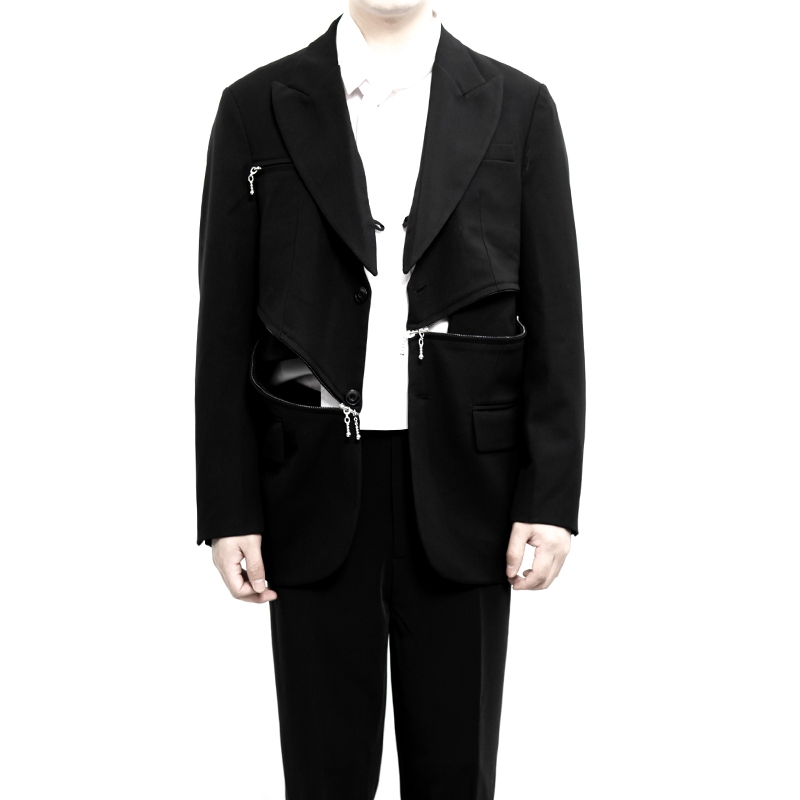 M-6XL!Plus-size Custom Stage Suit With Multiple Zipper Stitching Can Open A Dark Suit For Men.