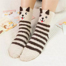 Nette Damen Wolle Hause Cartoon Socke Herbst Winter Warme Bett Weibliche Non-Slip Flauschigen Korallen Fleece Verdickung Plus Samt neue Socken z3(China)