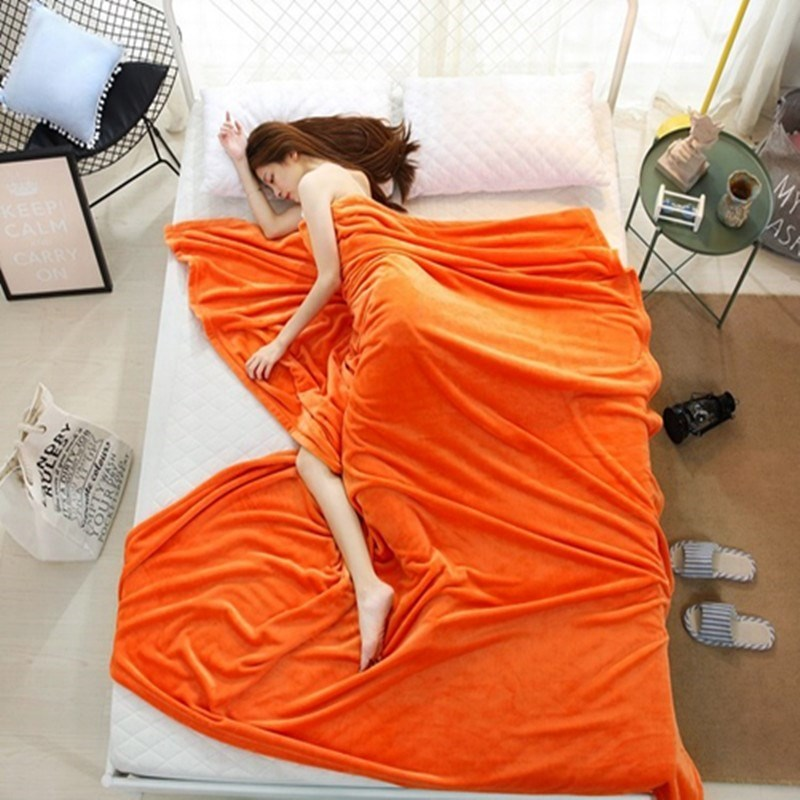 Brand New Sofa Solid Color Fleece Warm Coral Blankets Travel Flannel Soft Throw Blanket