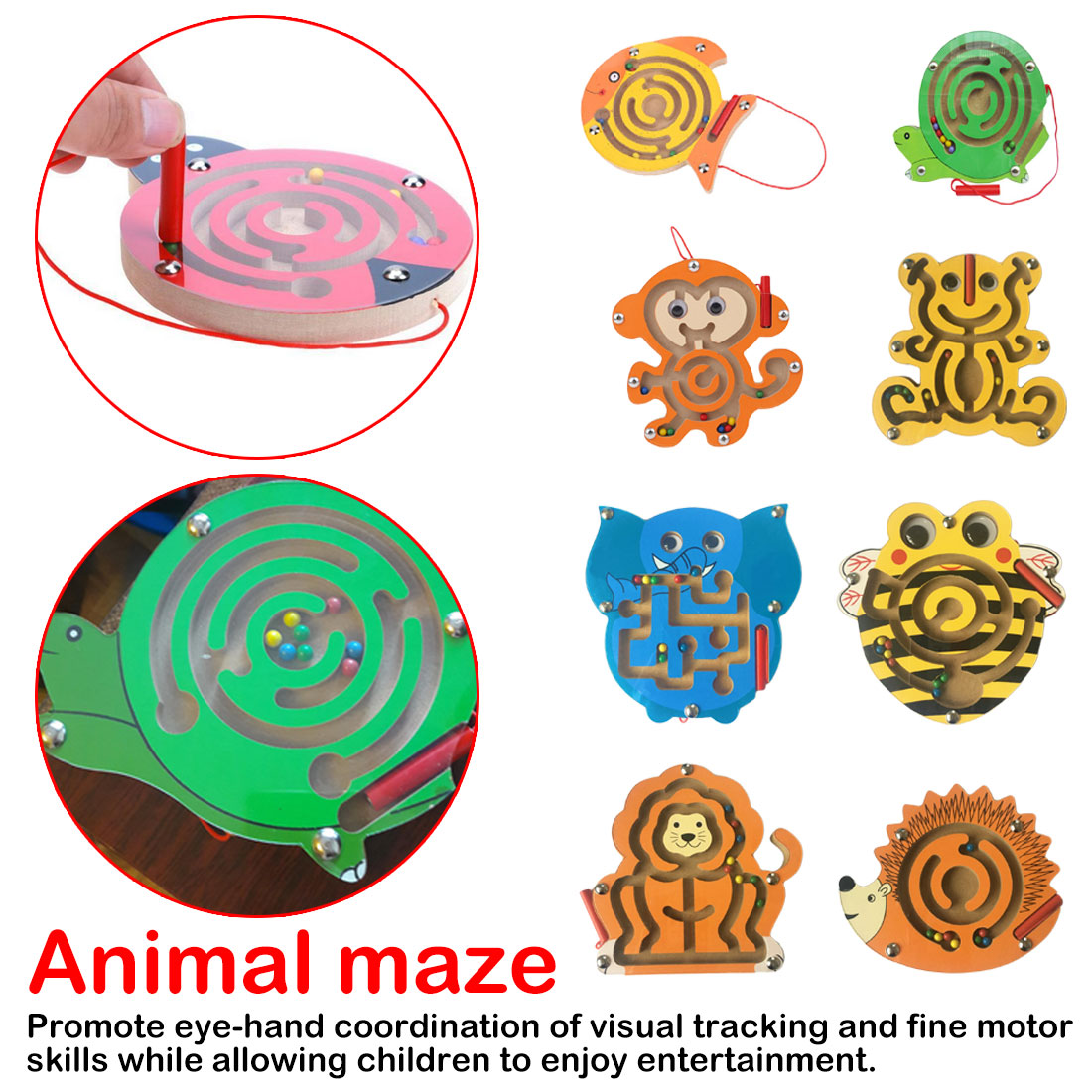 Hot Sale Children Magnetic Pen Maze Ball Game Kids Wooden Puzzle Toys Kids Early Educational Brain Teaser Toy