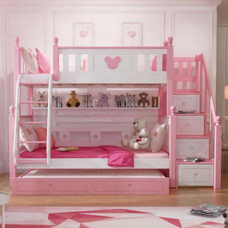Modern Bedroom Furniture Pink Princess Kids Bunk Bed For Girls Aliexpress