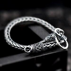 Image 4 - Vintage prawdziwa czysta 925 Sterling Silver ręcznie pleciony łańcuszek bransoletka dla mężczyzn biżuteria męskie bransoletki 2018