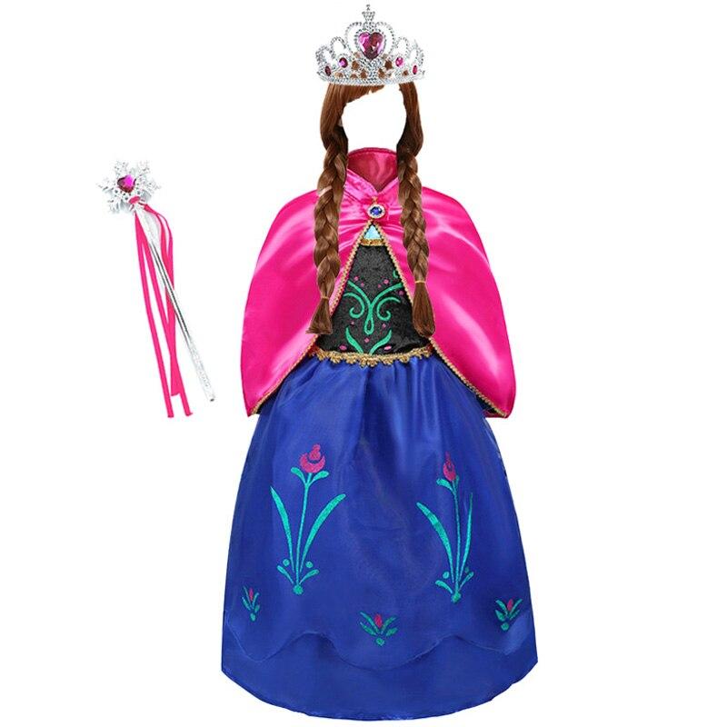 Girls Anna Elsa Princess Dress Kids Costume Set With Crown Gloves Wig Snow Queen Children Birthday Halloween Party Cosplay Dress