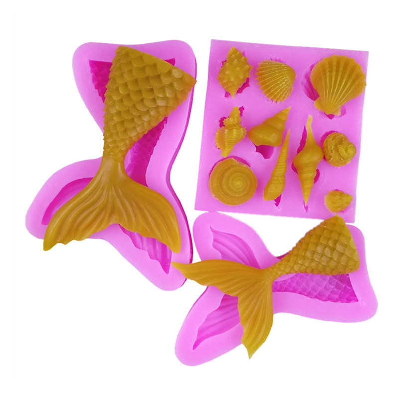 5 Styles Marine Organisms Series Silicone Cake Decorating Moulds 3D Mermaid Tail Fondant Cupcake Mold DIY Handmade Soap Mold