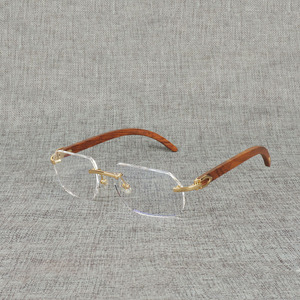 Image 5 - Vintage Naturale Legno Chiaro Occhiali di Corno di Bufalo Oversize Occhiali Senza Montatura Telaio per Gli Uomini Donne Quadrati Occhiali Da Lettura Ottica
