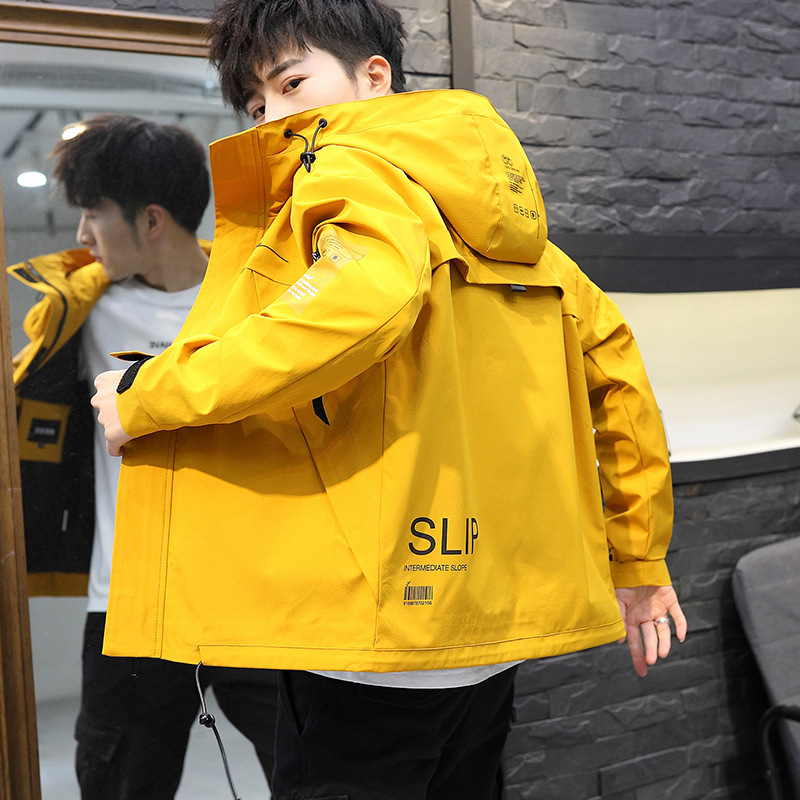 Yellow Windbreaker Coat Cargo-Jackets Patchwork Streetwear Autumn Casual Solid DG263